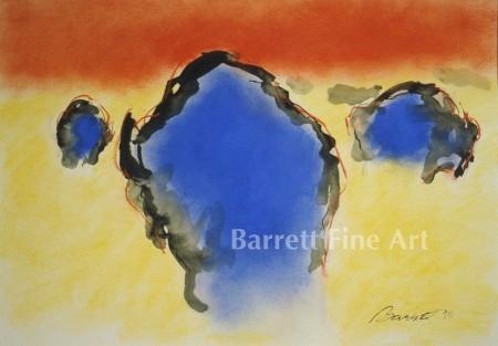 Three Blue Bison